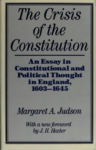 The crisis of the constitution