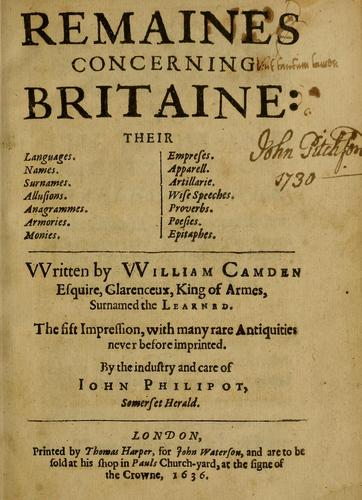 Remaines concerning Britaine