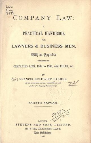 Company law by Palmer, Francis Beaufort Sir