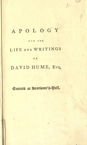 An apology for the life and writings of David Hume, Esq.