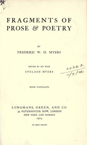 Fragments of prose & poetry.