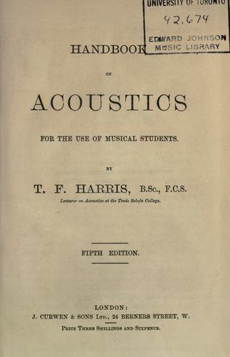Download Handbook of acoustics for the use of musical students