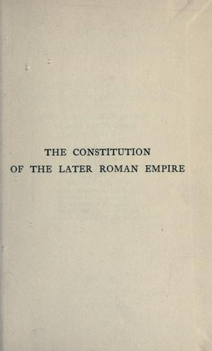 Download The  constitution of the later Roman Empire.