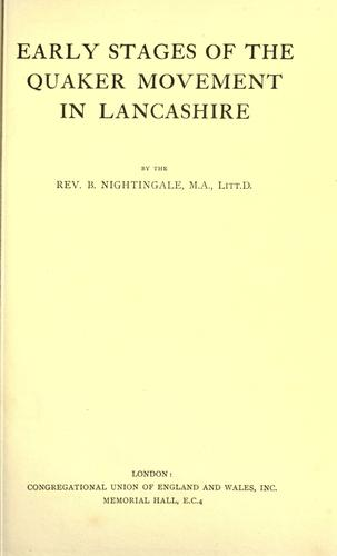 Download Early stages of the Quaker movement in Lancashire.