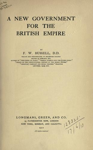 Download A new government for the British Empire.