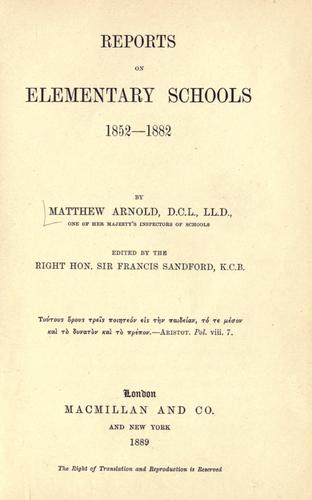 Download Reports on elementary schools, 1852-1882