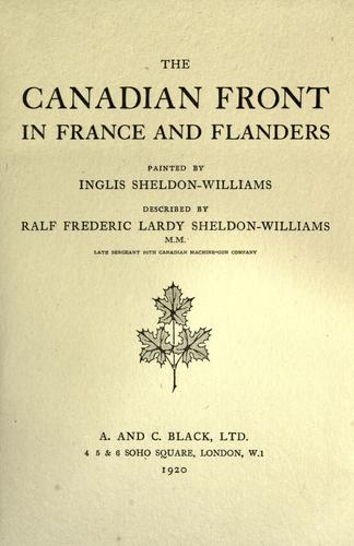 Download The Canadian front in France and Flanders