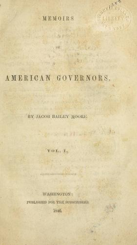 Memoirs of American governors.