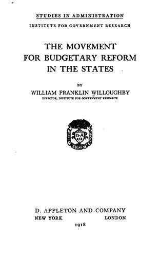 The movement for budgetary reform in the states