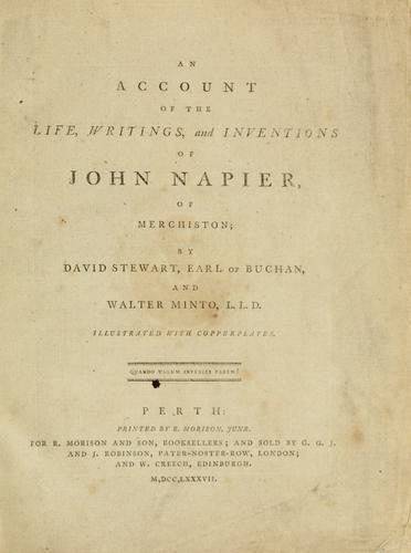 Download An account of the life, writings, and inventions of John Napier, of Merchiston