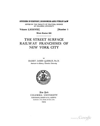 Download The street surface railway franchises of New York City