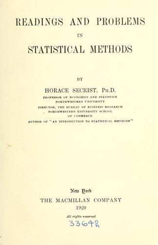 Readings and problems in statistical methods.