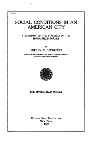 Download Social conditions in an American city