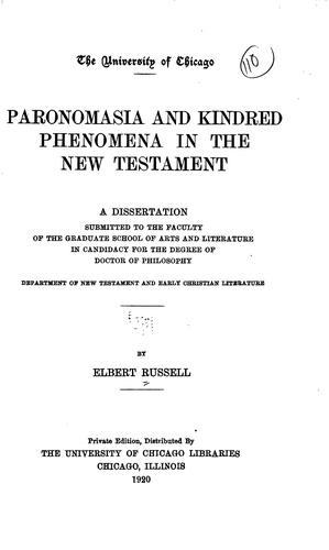Paronomasia and kindred phenomena in the New Testament