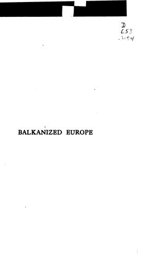 Download Balkanized Europe