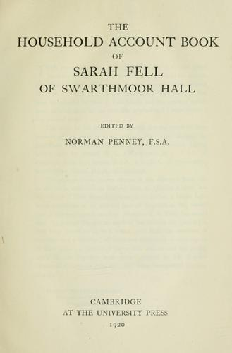 Download The household account book of Sarah Fell