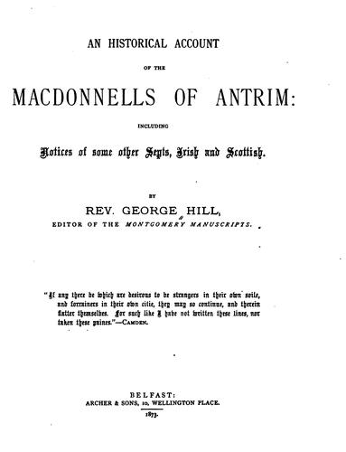 Download An historical account of the Macdonnells of Antrim