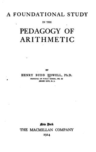 A foundational study in the pedagogy of arithmetic