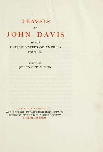 Travels of John Davis in the United States of America