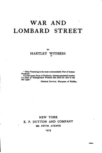 Download War and Lombard street