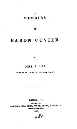 Download Memoirs of Baron Cuvier.