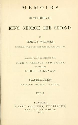 Memoirs of the reign of King George the Second