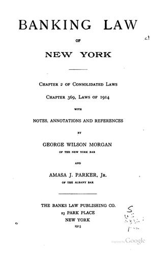 Download Banking law of New York