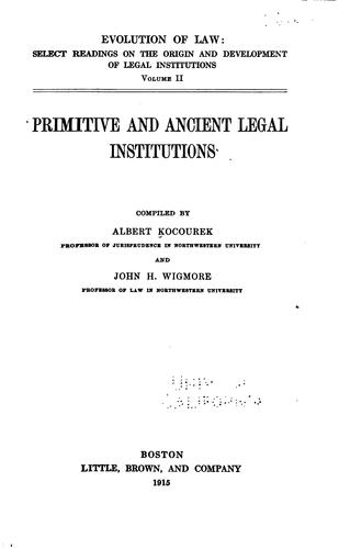 Primitive and ancient legal institutions