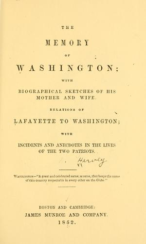 The memory of Washington by Nathaniel Hervey