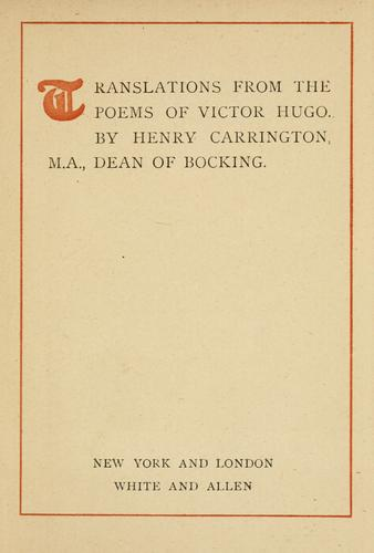 Translations from the poems of Victor Hugo