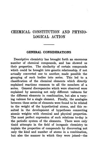 Chemical constitution and physiological action.