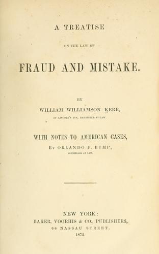 Download A treatise on the law of fraud and mistake