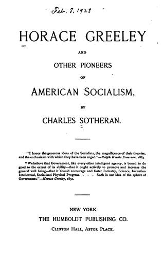 Download Horace Greeley and other pioneers of American socialism