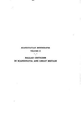 Ballad criticism in Scandinavia and Great Britain during the eighteenth century