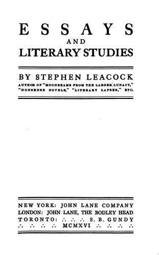 Download Essays and literary studies