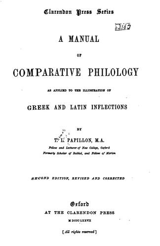 Download A manual of comparative philology as applied to the illustration of Greek and Latin inflections