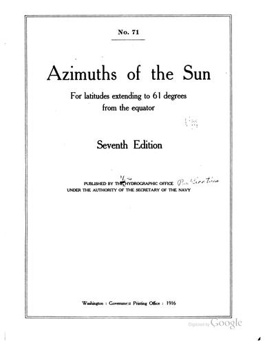 Azimuths of the sun for latitudes extending to 61 degrees from the equator.