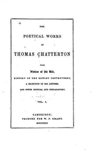Download The poetical works of Thomas Chatterton