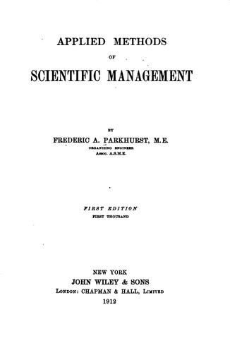 Applied methods of scientific management