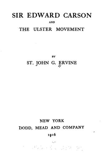 Download Sir Edward Carson and the Ulster movement