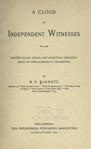 A cloud of independent witnesses by B. F. Barrett