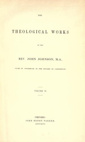Theological works by Johnson, John