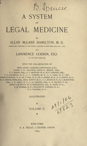 A system of legal medicine.