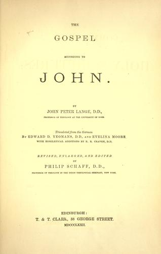 The Gospel according to John by Johann Peter Lange