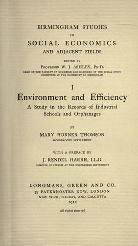 Environment and efficiency by Mary Horner Thomson
