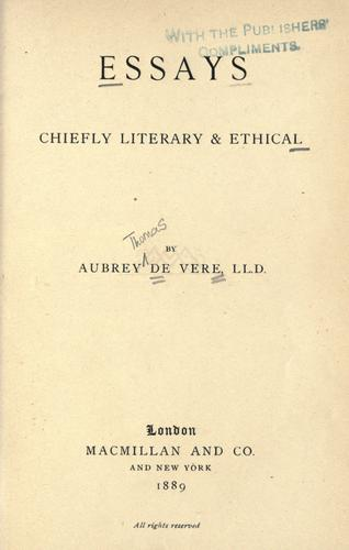 Essays, chiefly literary & ethical by Aubrey De Vere