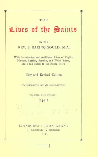 The lives of the saints by Baring-Gould, S.
