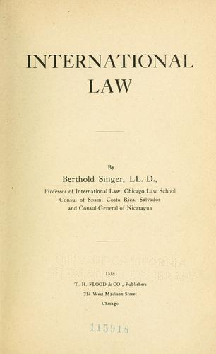 International law by Singer, B.