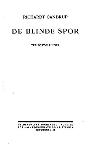 De blinde spor by Richardt Gandrup