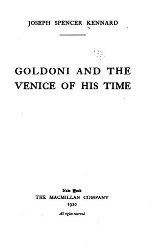 Goldoni and the Venice of his time.